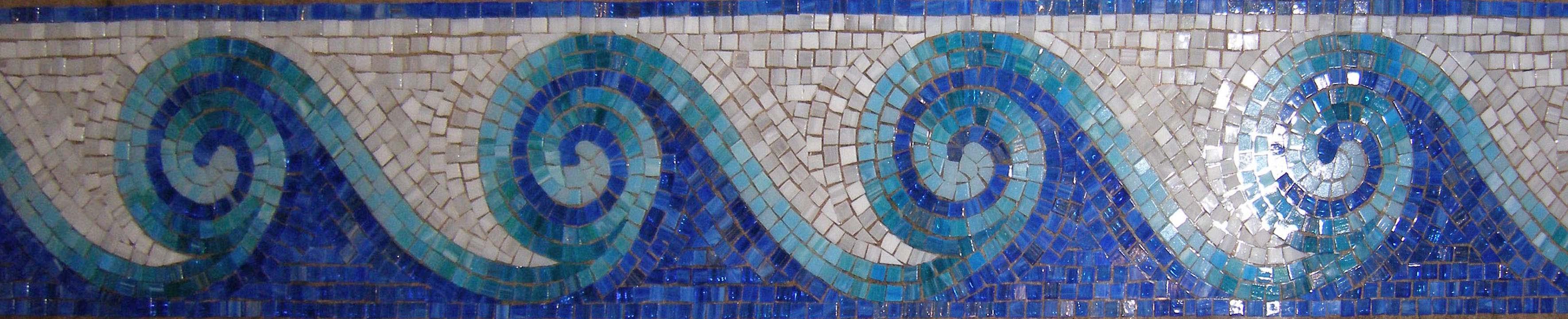орнаментальный мозаичный бордюр для бассейна