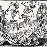 Inspired by the Black Death, The Dance of Death or Danse Macabre, an allegory on the universality of death, is a common painting motif in the late medieval period.