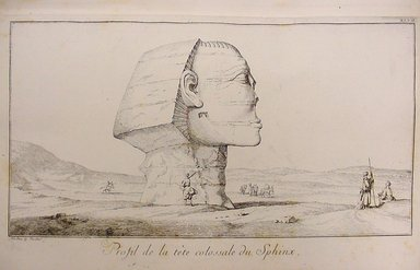 """F.L. Norden. Travels in Egypt and Nubia, 1757. Plate 47, Profil de la t�te colossale du Sphinx."", 1757. Printed material. Brooklyn Museum. (N370.405_N75t_Norden_Travels_pl47_Sphinx_profile.jpg)"