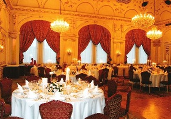 Magnificent classical interior in Gundel Restaurant Budapest Hungary
