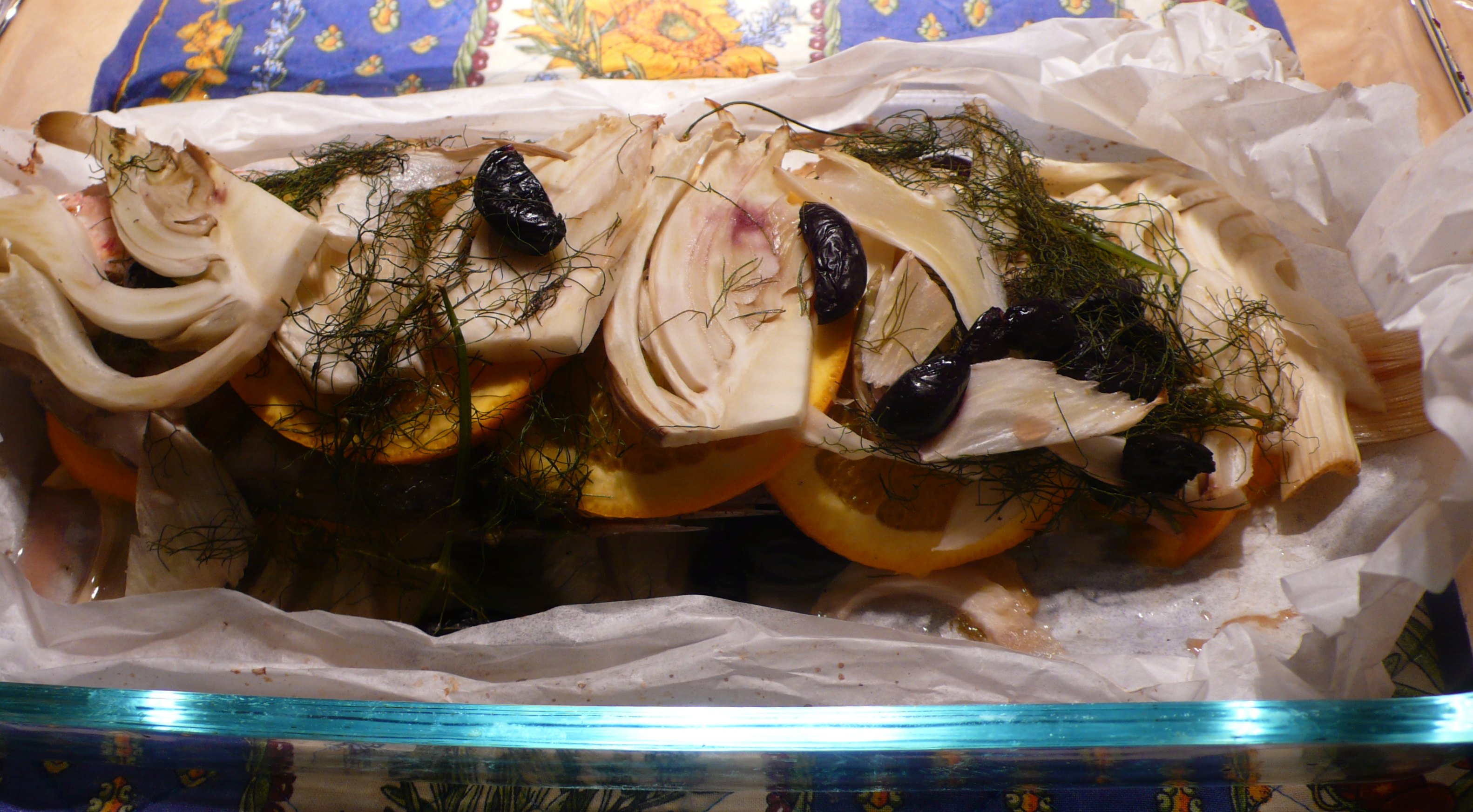 Red snapper en papillote with fennel and orange