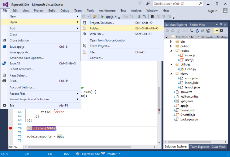 The new Open Folder feature in the Visual Studio IDE