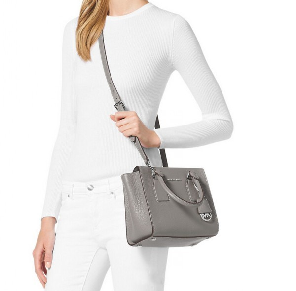 Michael Kors Selby 女士真皮手提单肩包 灰色 中号 $179.99(到手约¥1265)