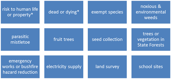 12 categories of trees or vegetation that are exempt