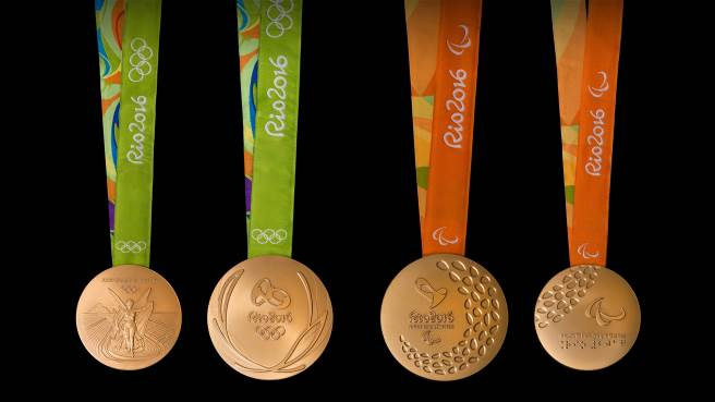 The Rio 2016 medals were produced with sustainability in mind: the gold medals are 100% free of mercury and the silver medals are made up of 30% recycled material.