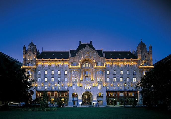 Facade of Gresham Palace Four Seasons Luxury Hotel Budapest