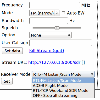 The YouSDR web interface.