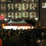 Large crowds watched the lighting of Macy's Christmas Tree at San Francisco Union Square Friday. (Steven Luo/ CALIFORNIA BEAT)