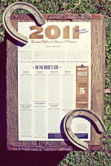 Latest Obsession: Poster Wedding Programs - western style wedding program poster
