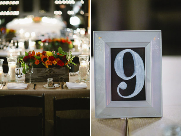 wooden square boxes centerpiece florals chalkboard numbers