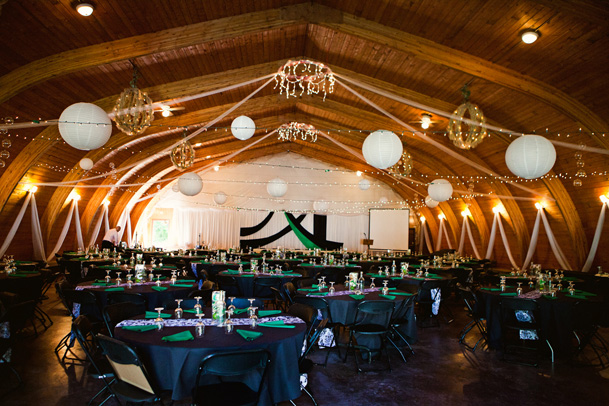white lanterns rustic wedding black green