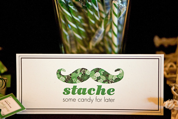 green white clever stache candy bar stationery