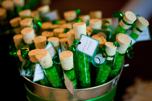 green test tube candys tin bucket wedding