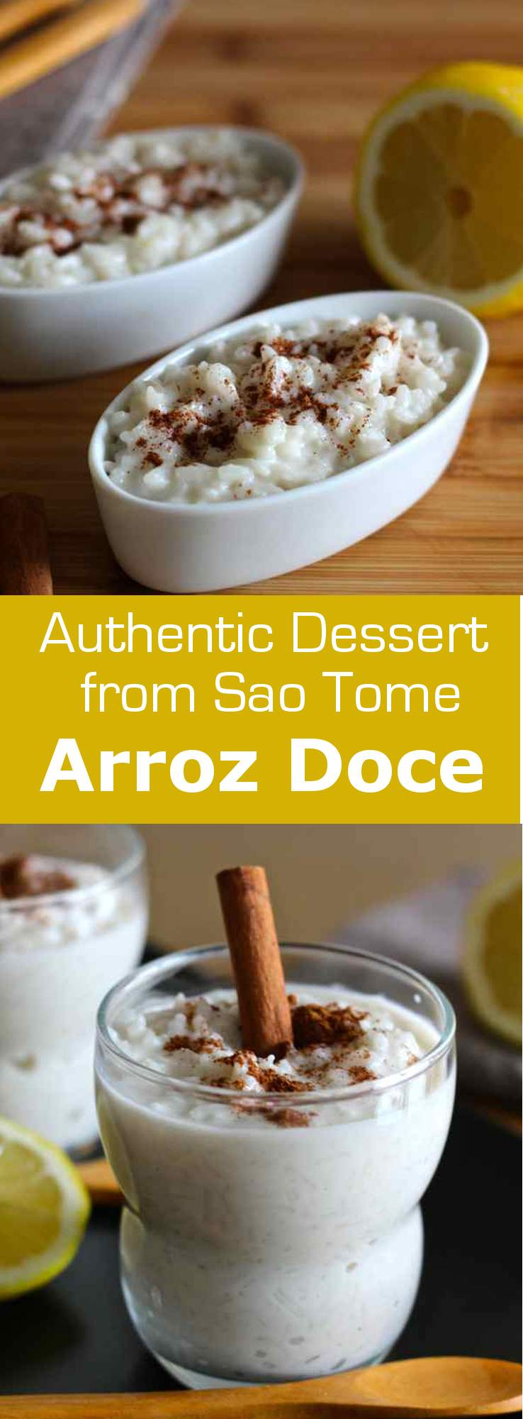 Arroz doce is one of the most popular desserts of São Tomé and Príncipe. It is prepared with coconut milk and flavored with lemon and cinnamon. #dessert #196flavors
