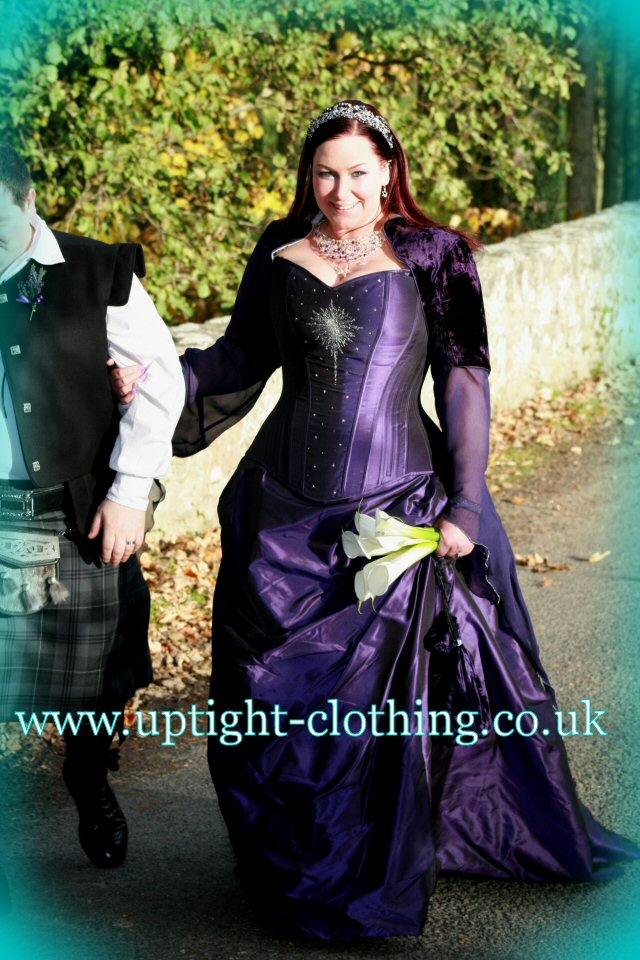 real bride jen in purple silk taffeta