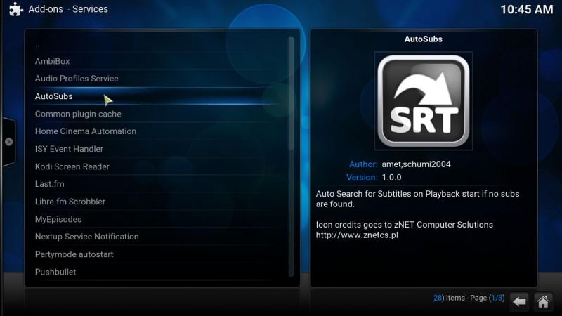 AutoSubs service for Kodi media center