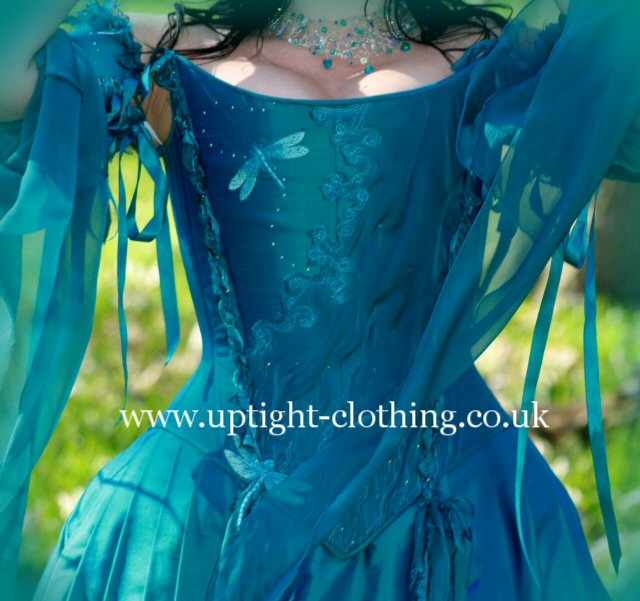 turquoise silk dragonfly corset wedding dress
