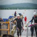 Finishing the Great North Swim 1 mile.