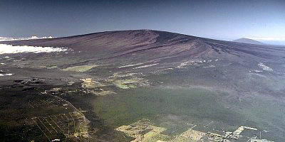 Lava fissure and flows from northeast rift zone of Mauna Loa, Hawai`i, 1975