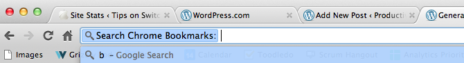 What searching through your bookmarks looks like in Google Chrome