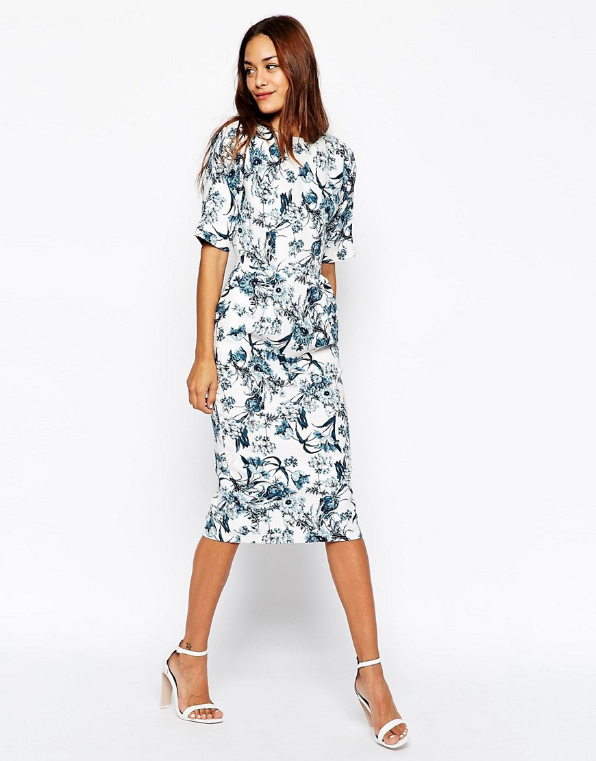 Image 1 of ASOS Wiggle Dress in Texture with Blue Floral Print