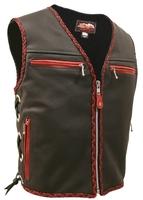 The Elite Braided Motorcycle Vest (Red/Black)