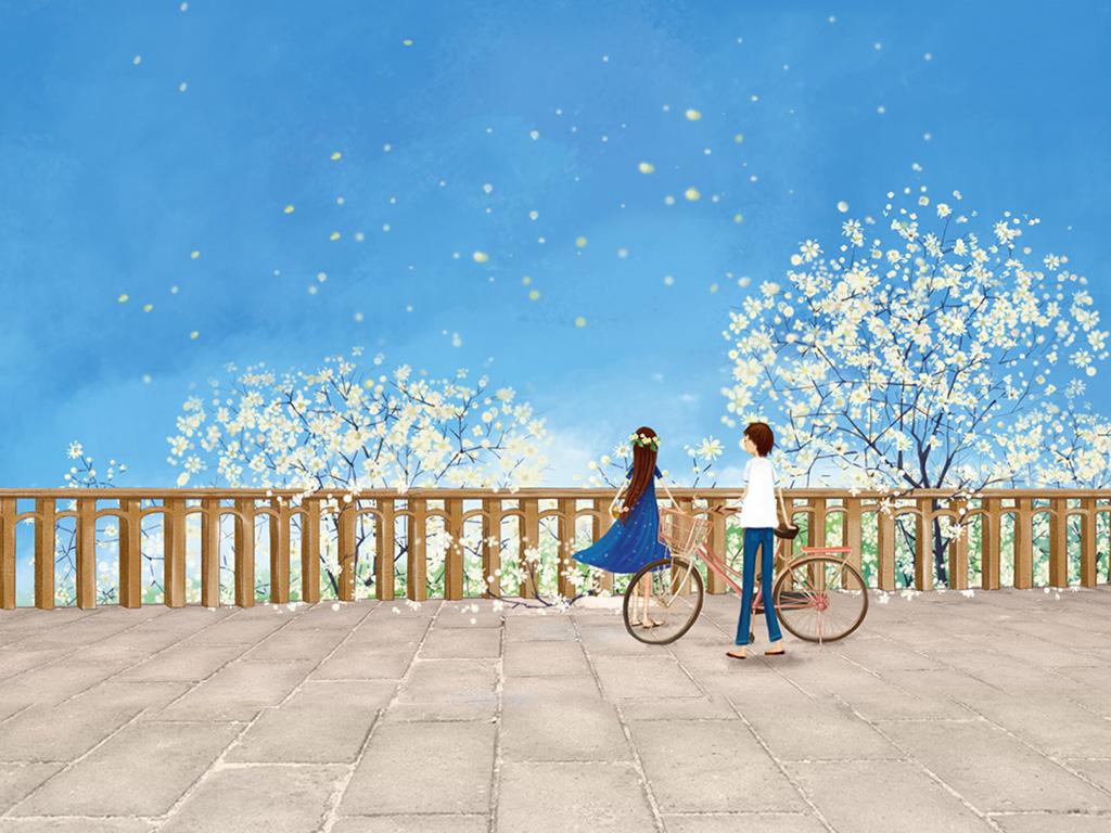 淡雅幻灯片背景图片花海 恋爱的感觉 两个人唯美美丽风景