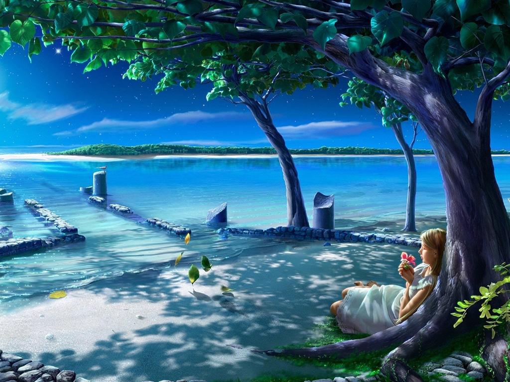 背景图片加贺屋,树叶,花,女孩,月亮,夜,水,湖,树,经典