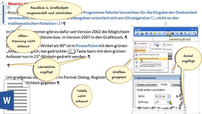 Nach dem Reimport der PDF in Word 2013