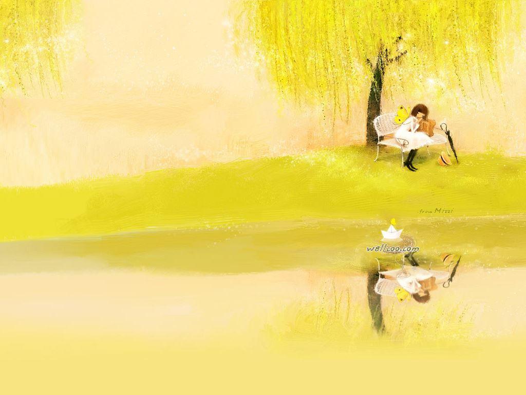 好看的韩国卡通女孩  动态ppt背景图片