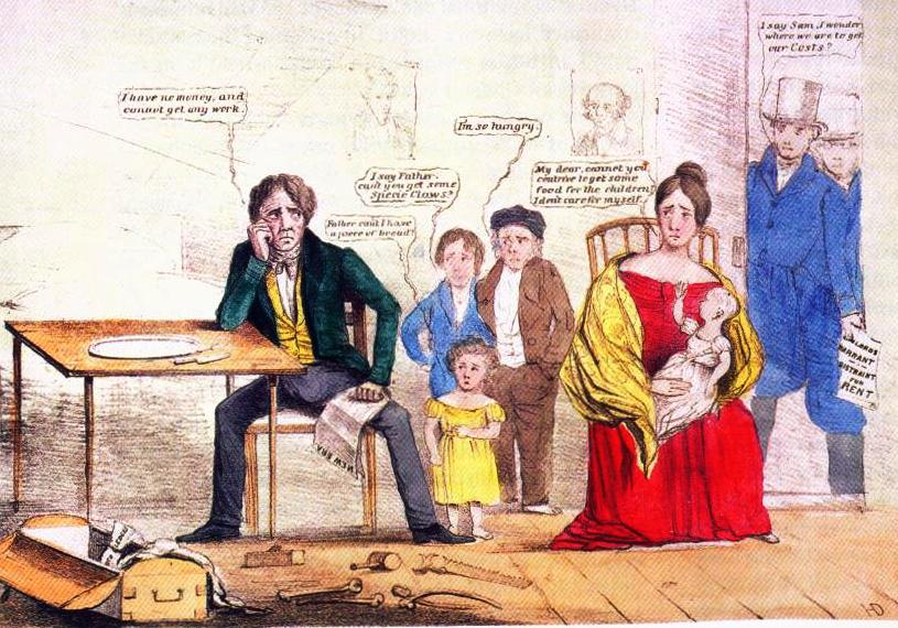 1837 cartoon showing the effects of unemployment on a family that has Jackson's portrait on the wall.