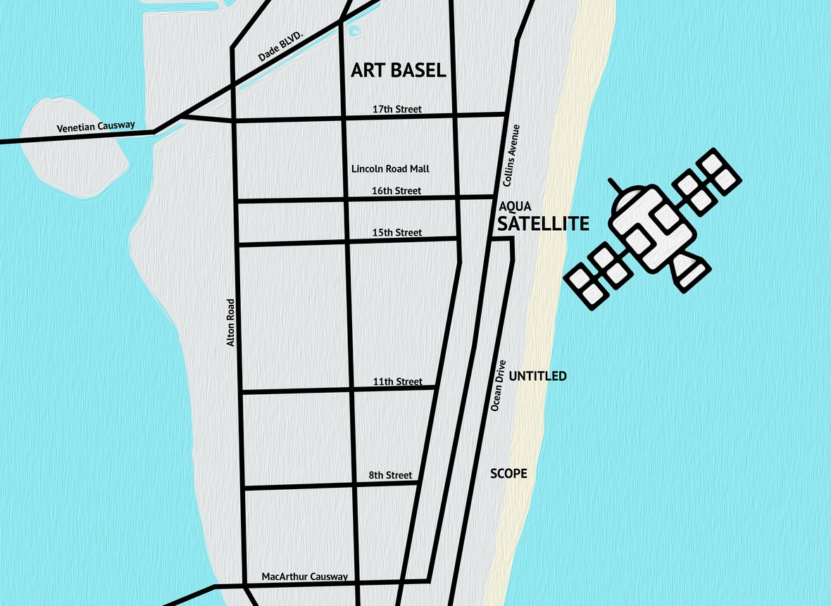 A map showing the second edition of SATELLITE's location in the heart of South Beach. <br>Photo: courtesy SATELLITE.