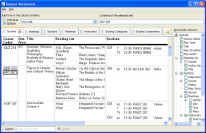 The related worksheets system being used to display information about courses.  Each course has reading and sections, with presentation nested inside the relevant cells of the courses table.