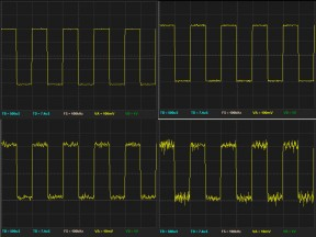 Oscilloscope traces with and without isolation