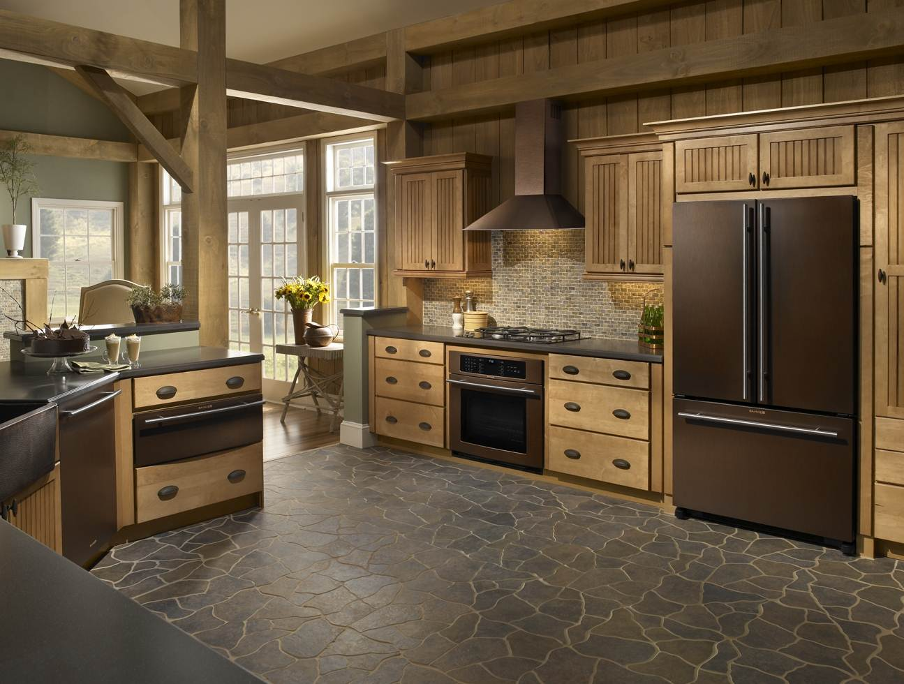 Image of: Distressed Wood Kitchen Cabinets