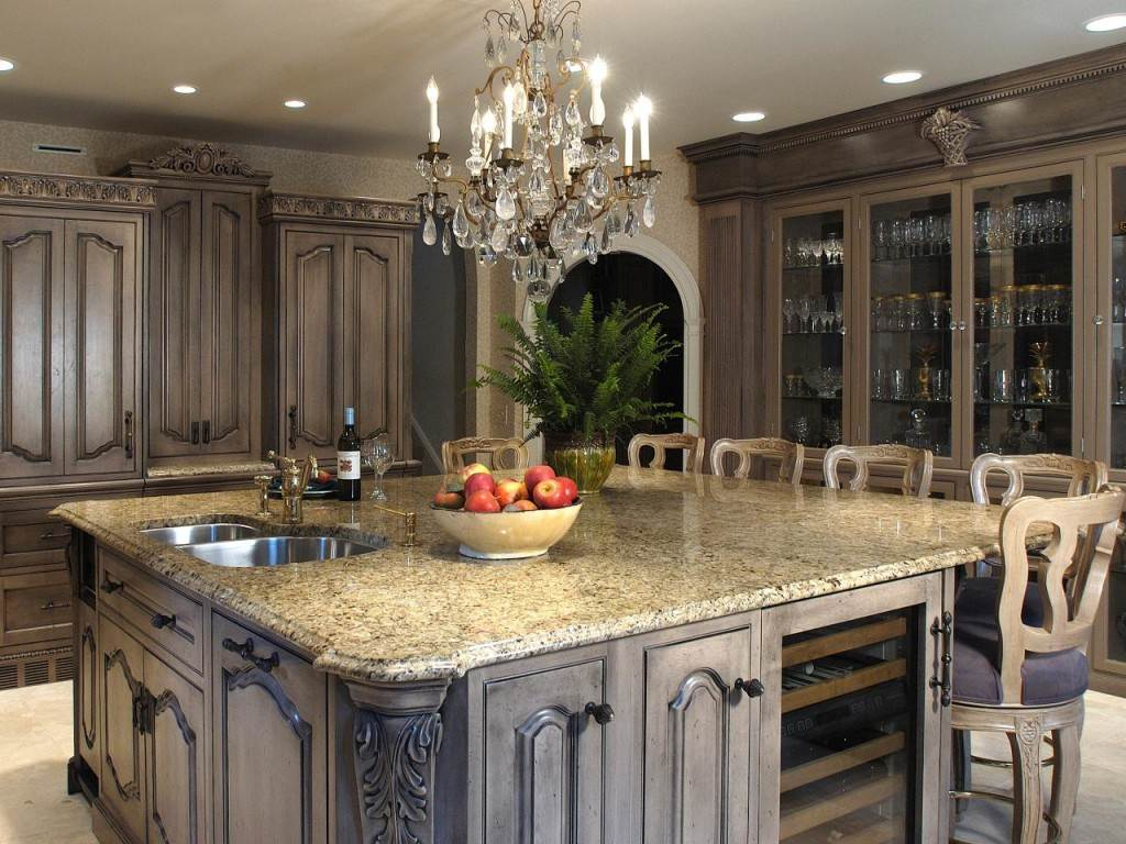 Image of: Cream Distressed Kitchen Cabinets