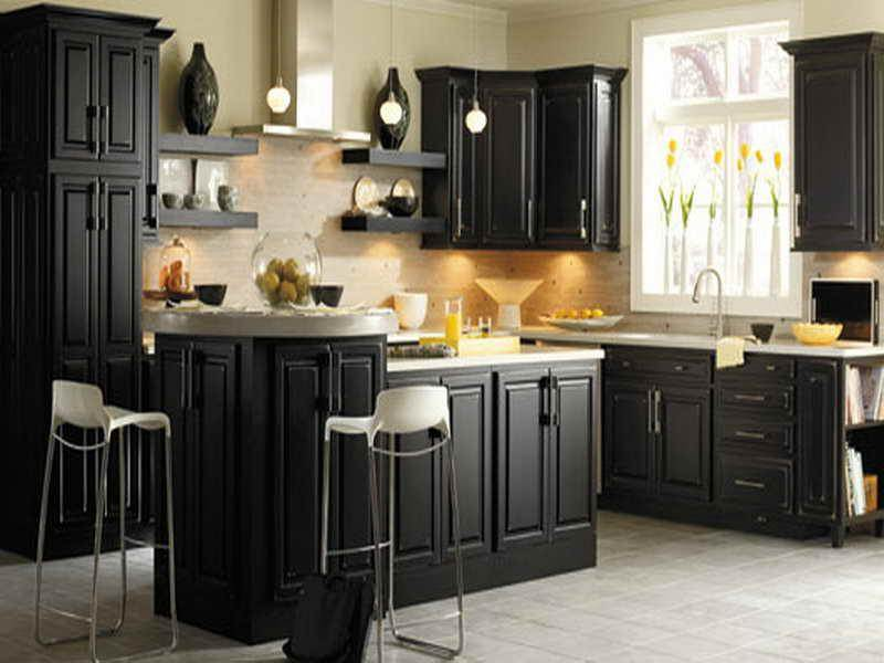Image of: Distressed Black Kitchen Cabinets