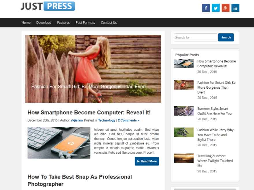 Justpress free wordpress theme
