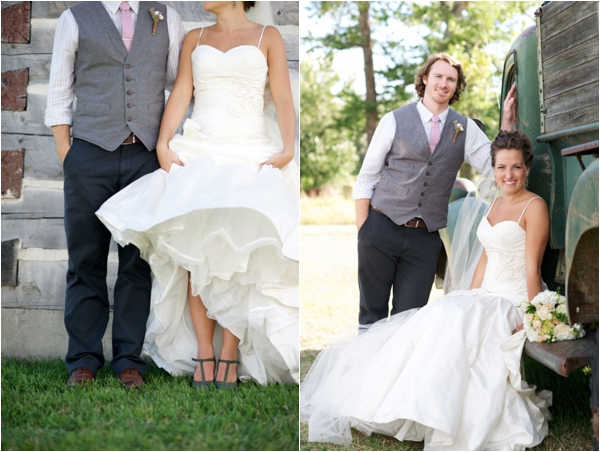 bride and groom with rustic truck, groom in a vest, rustic wedding fashion