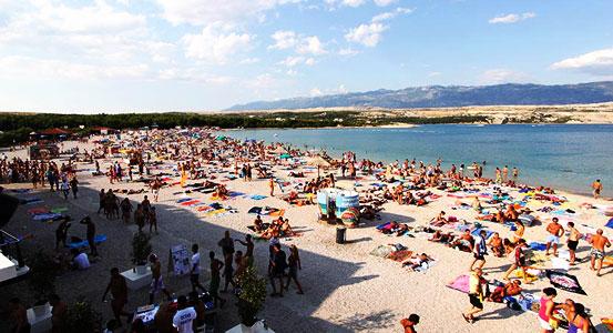Das Strandleben von Novalja