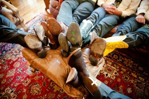 groomsmen in cowboy boots, rustic wedding fashion