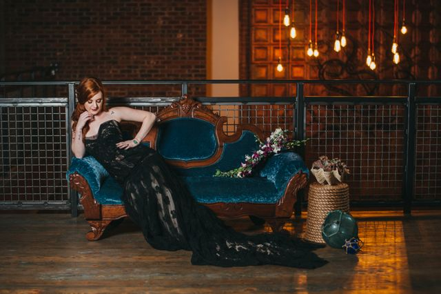 edgy bride brewery wedding black gown