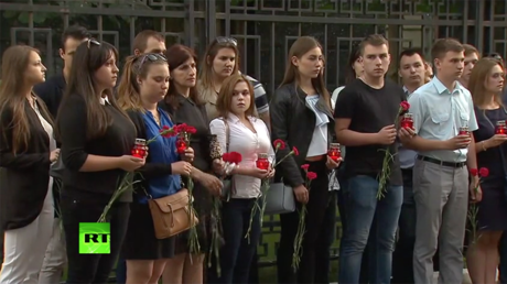 Tribute for victims of 2008 Georgian aggression near South Ossetian embassy in Moscow