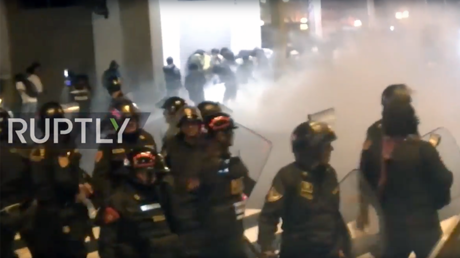 Protesting students clash with police in Lima, Peru