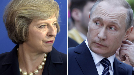 British Prime Minister Theresa May (L), Russian President Vladimir Putin. © Reuters