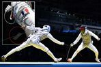 Enzo Lefort competes with Peter Joppich in the Men's Foil