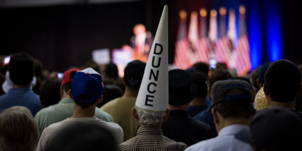 Dunce cap at political convention (image: Damon Winter/NYT)