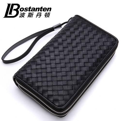 波斯丹顿B20622睿智绅士编织纹奢华商务手拿牛皮钱包