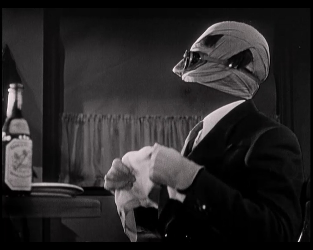 The first reveal of Griffin's invisibility, about seven minutes into the film.