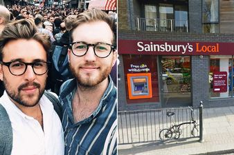 Thomas Rees, 32 (left) and boyfriend Josh - holding hands on a visit to Sainsbury's they were told by a security guard that they were 'touching inappropriately'